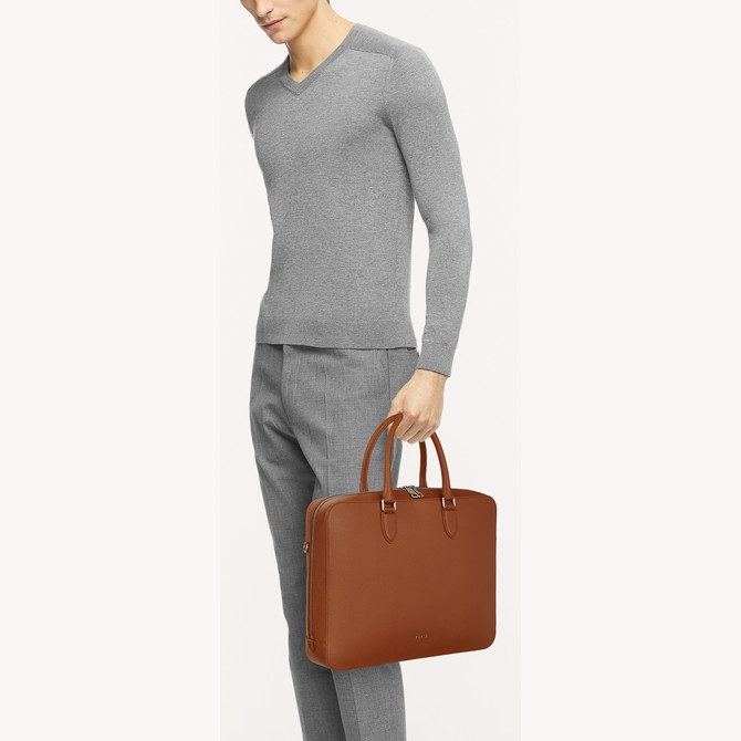 BRIEFCASE COGNAC h FURLA MAN PROJECT